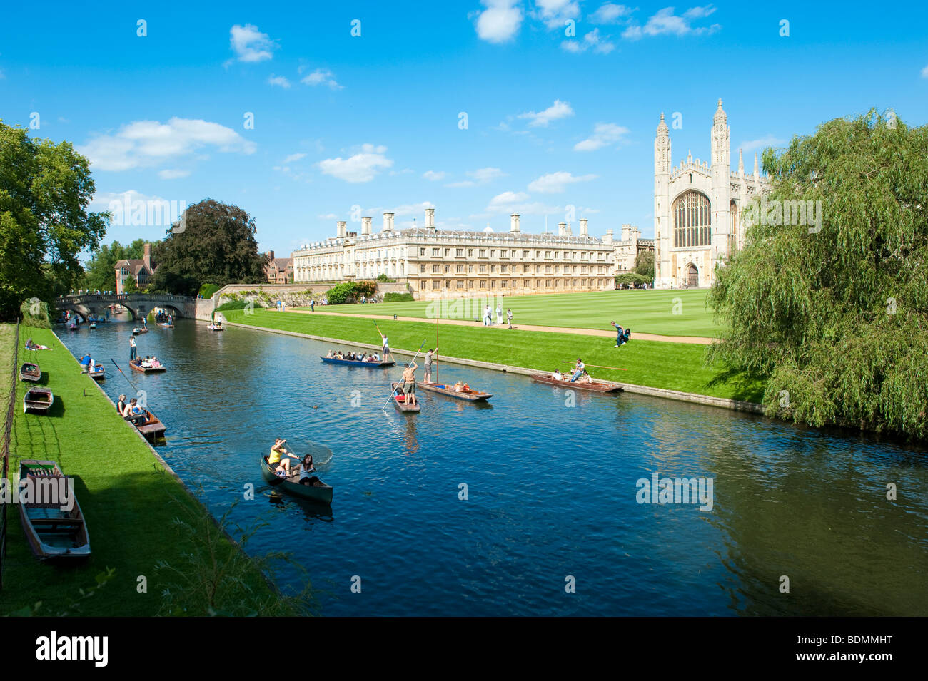 Punting on the River Cam, Cambridge, UK - Stock Image