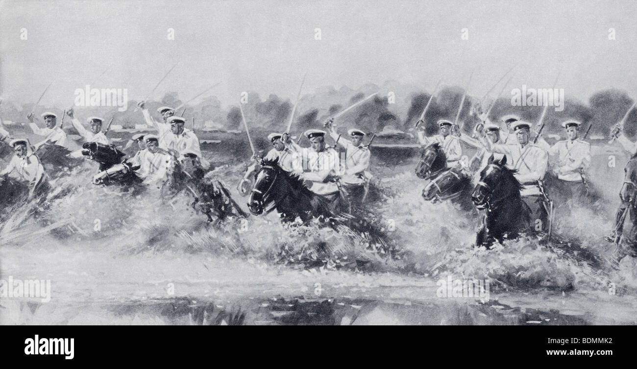 Russian cavalry charge against the Germans at Gumbinnen, East Prussia on the Russian Front during the First World - Stock Image