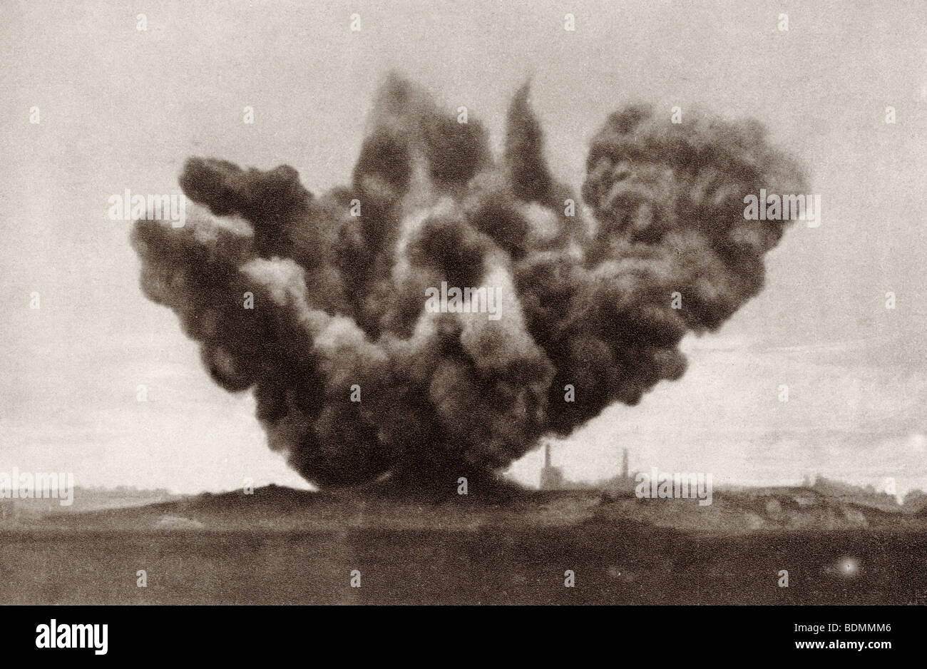 Exploding artillery shell during the First World War. - Stock Image