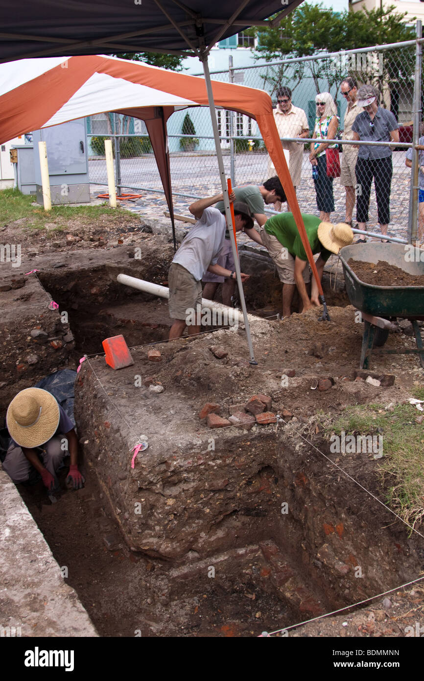Archaeological dig in the historic Battery section of Charleston, South Carolina where the original city wall stood - Stock Image