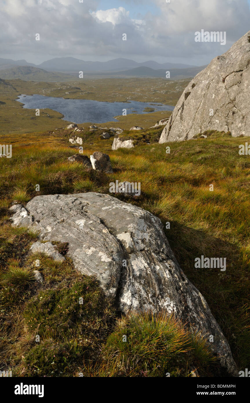 Loch Tungabhat from summit of Conostom, Isle of Lewis, Scotland - Stock Image