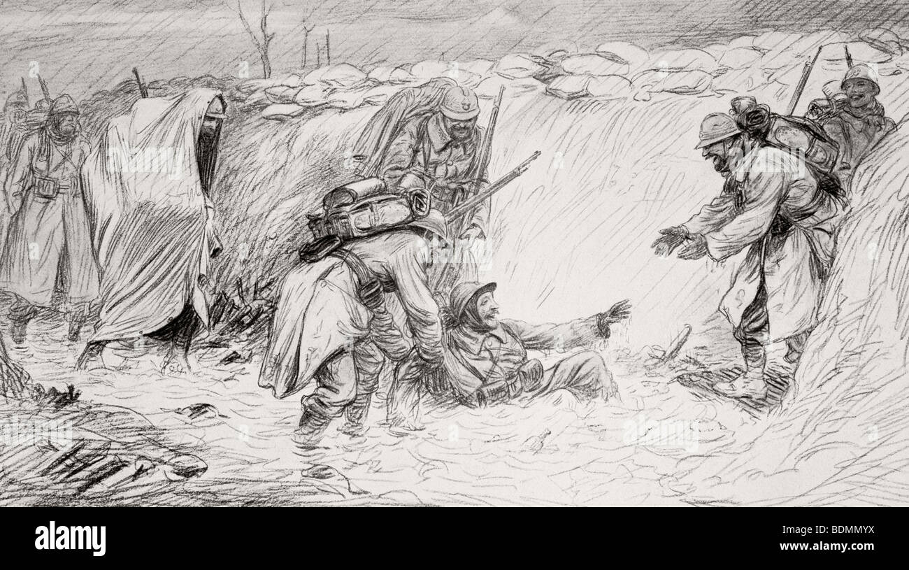 French soldiers joking as one falls into water at bottom of trench. - Stock Image