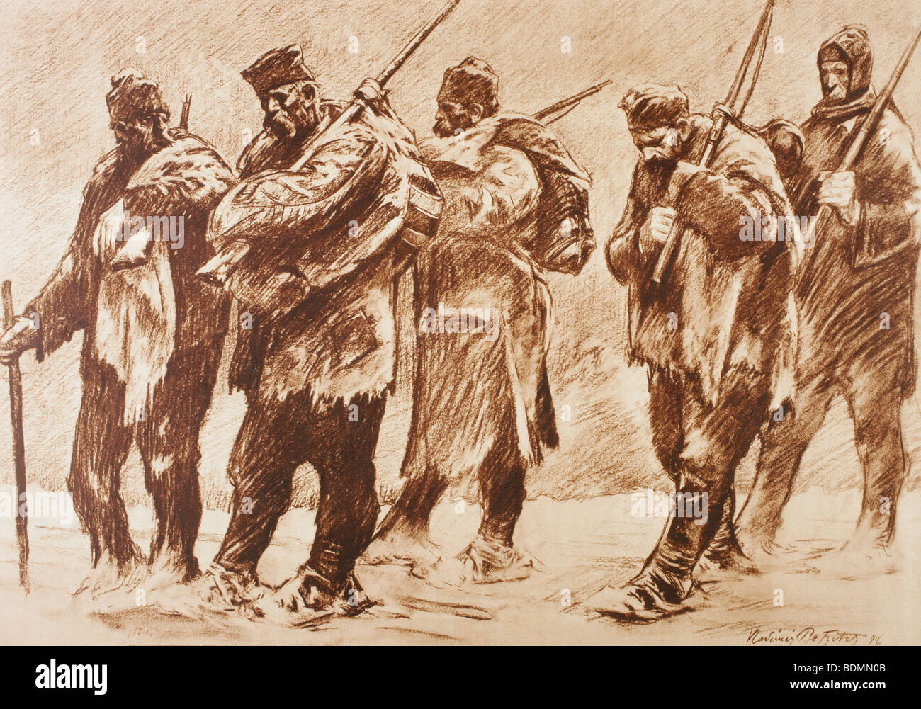 Survivors of a Serb battalion after the retreat of the army. - Stock Image