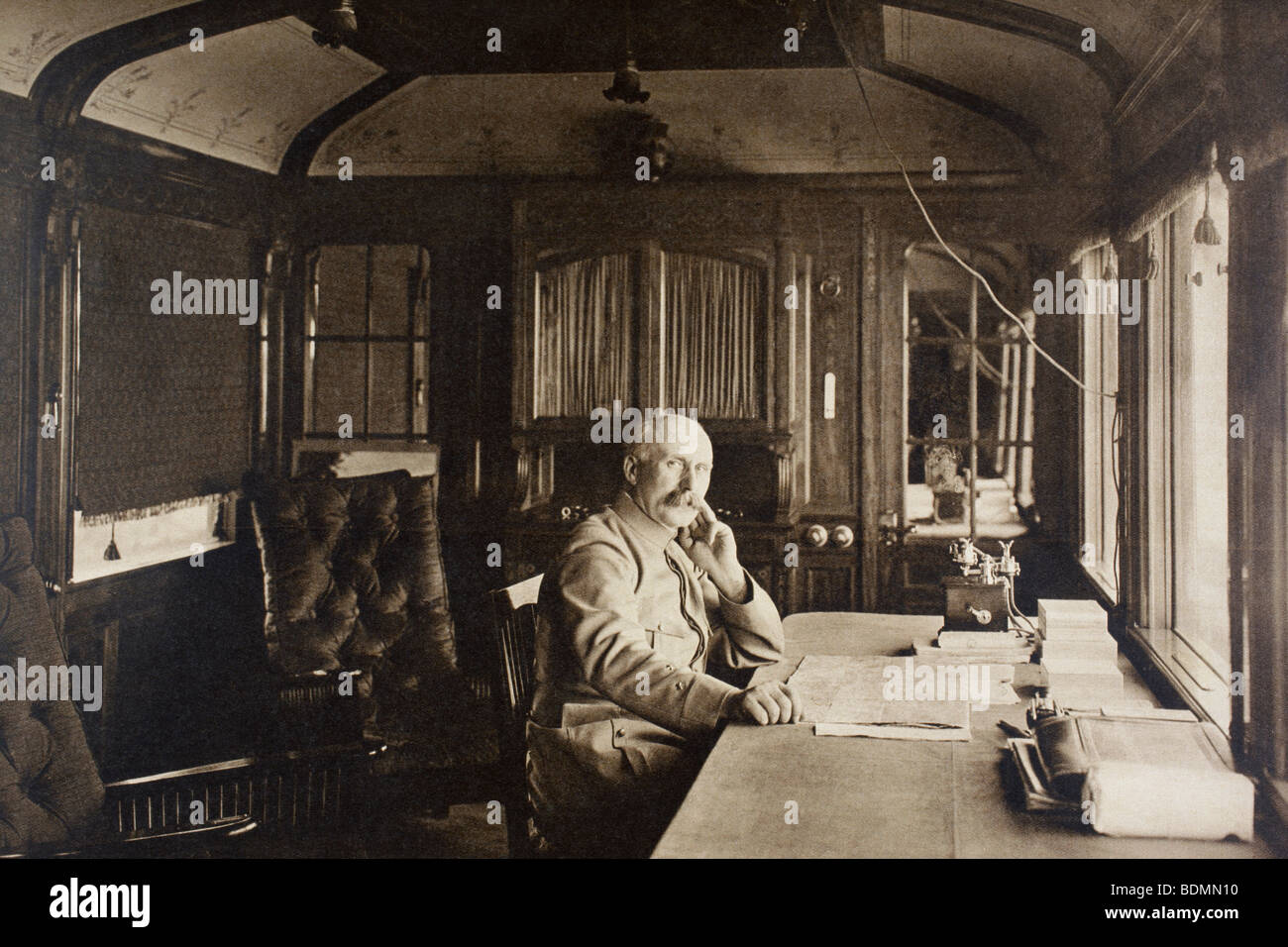 French General Petain in his railway carriage office near the Western Front in autumn 1915. - Stock Image