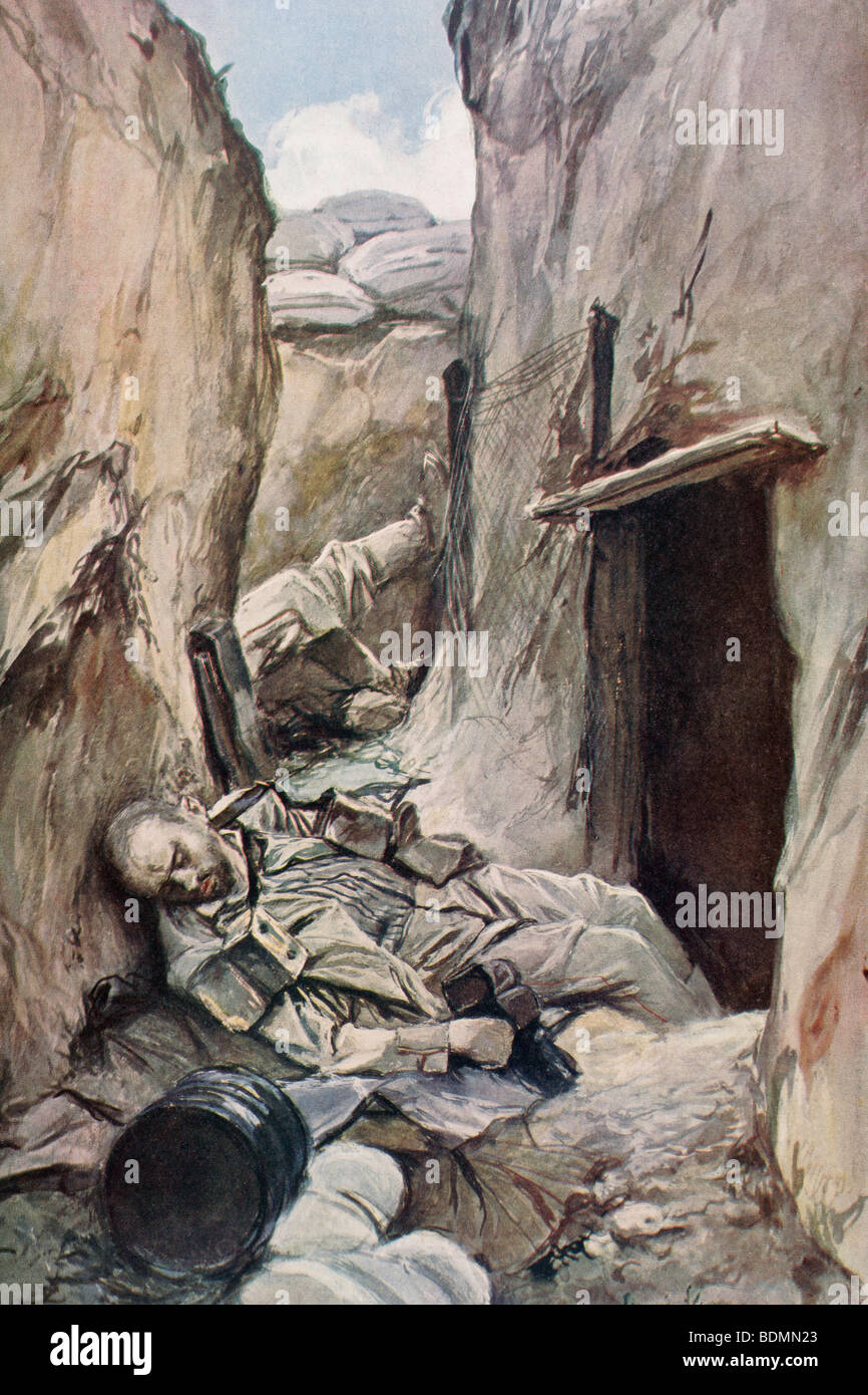 German Trench Stock Photos Images Alamy Diagram Ww1 Dead Soldiers In A During The First World War Image
