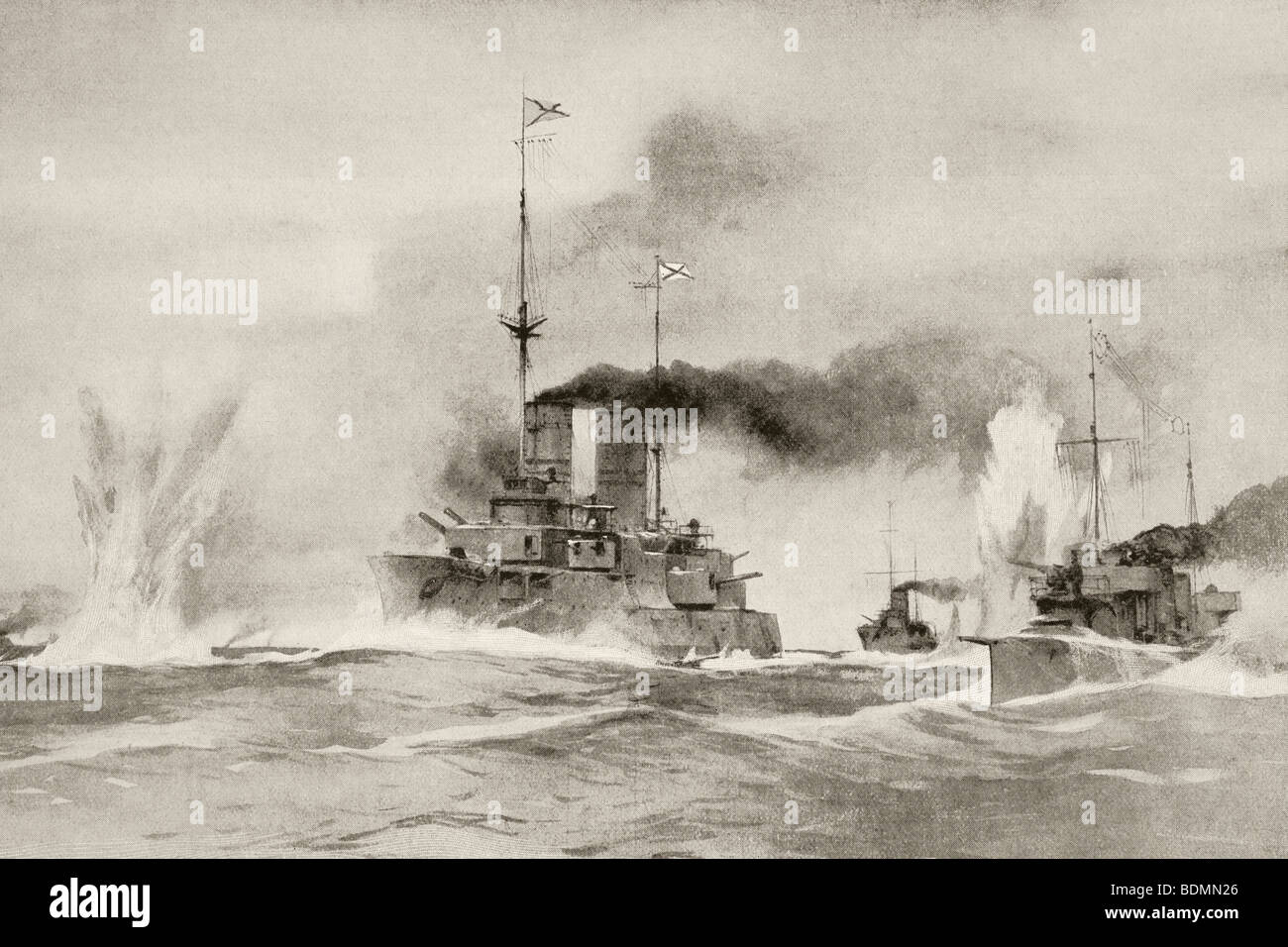 A sea battle underway during the First World War. - Stock Image