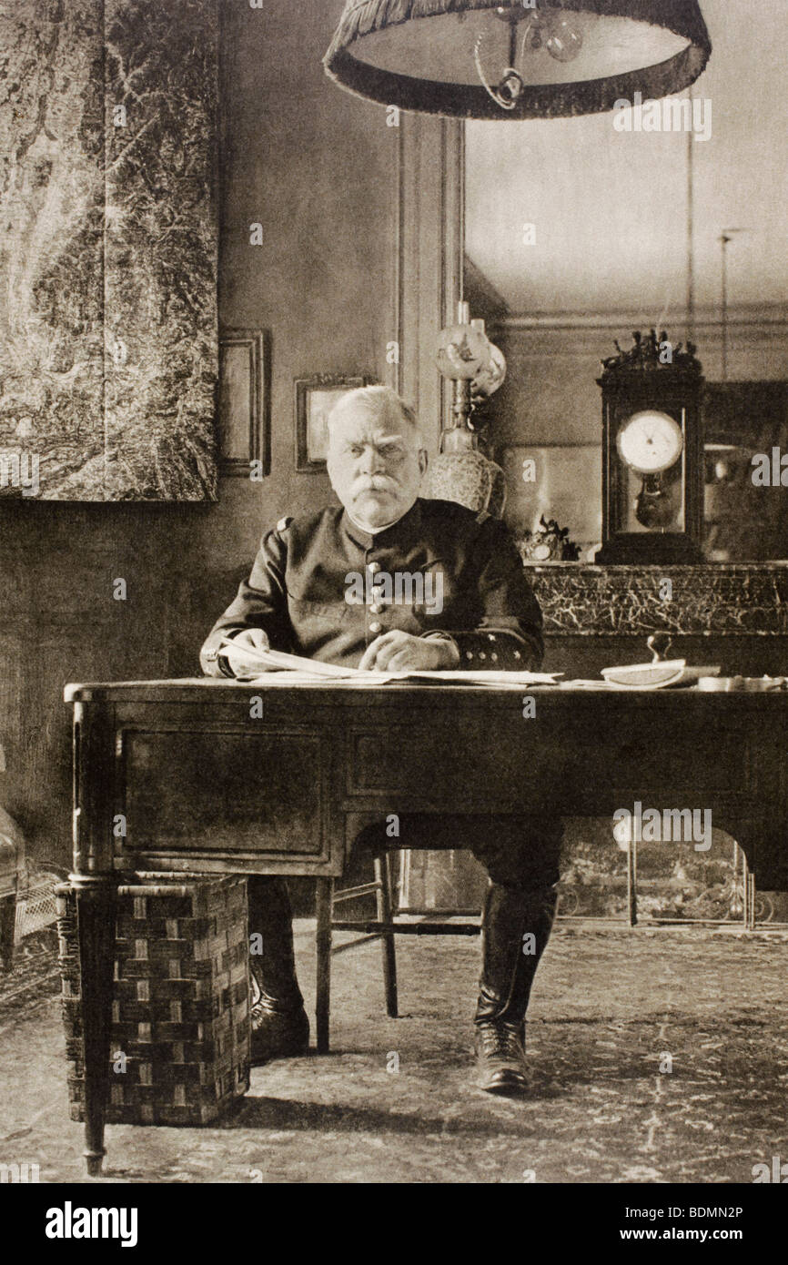 General Joseph Joffre at his work desk in French General Headquarters during the First World War. - Stock Image