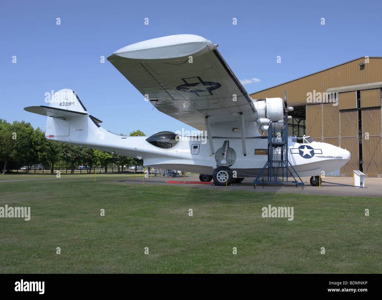 Displayed externally at the Imperial War Museum Duxford is this fine example of an  Consolidated Catalina Seaplane. - Stock Image