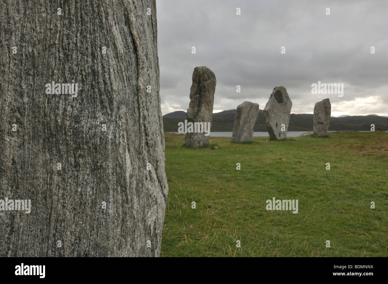 Lewisian gneiss in standing stones, Calanais, Isle of Lewis, Scotland - Stock Image