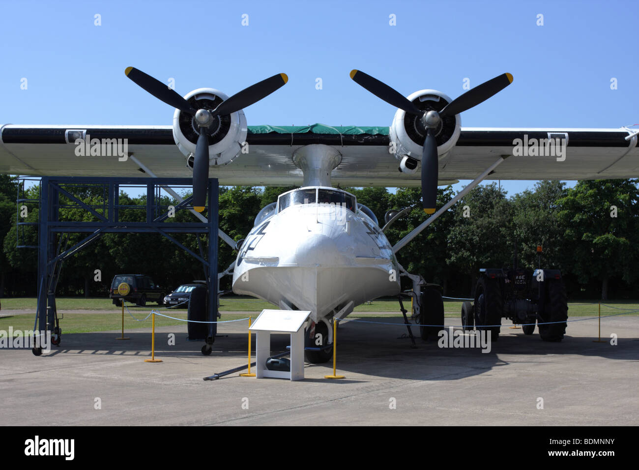 Full on cropped aspect of the Consolidated Catalina seaplane,currently on external display at Imperial War Museum - Stock Image