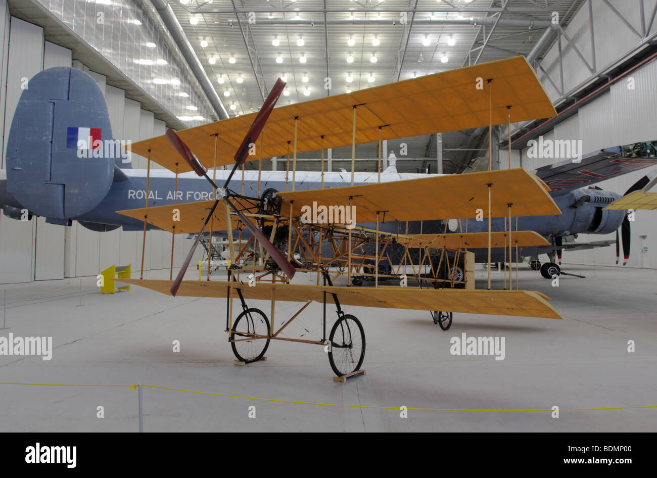 Replica of an early 20th century aircraft,situated in the Air Space Hangar at IWM Duxford,Cambridgeshire,England. - Stock Image
