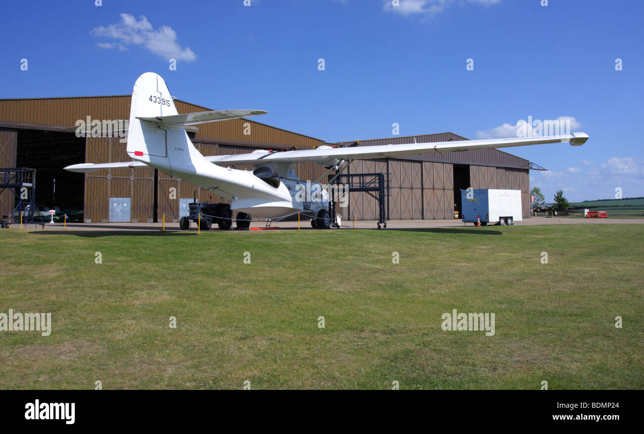 Rear view of the Consolidated Catalina seaplane,currently on external display at IWM Duxford,England. - Stock Image