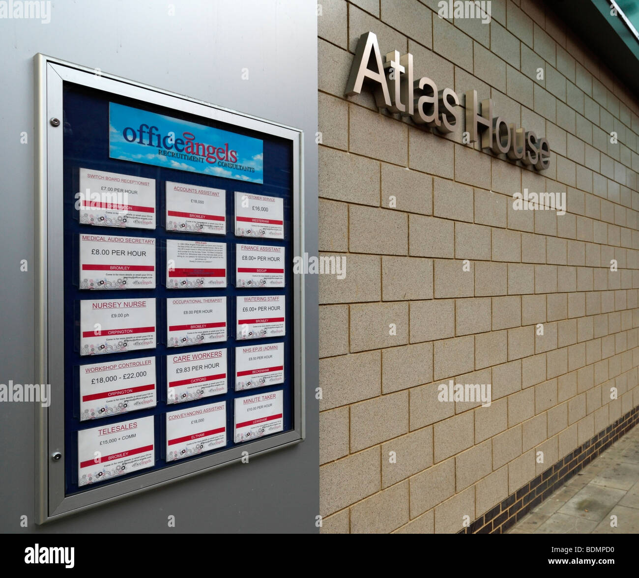 Office Angels recruitment consultants vacancies notice board, London, UK. - Stock Image