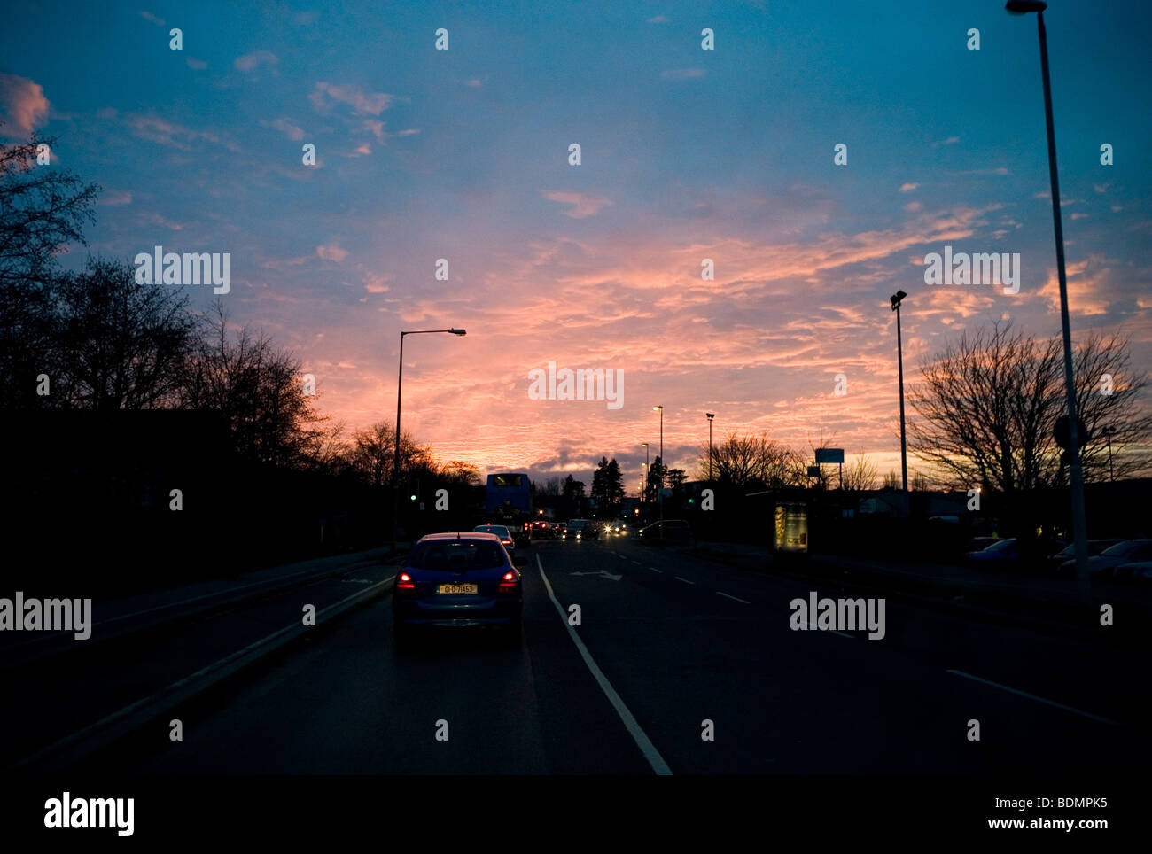 Feb 2009 Sunset early evening in Dundrum Co. Dublin Ireland - Stock Image