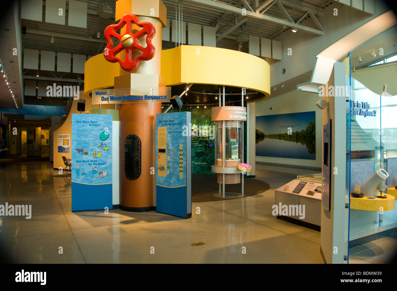 Exhibit at the The National Great Rivers Museum on the Meeting of the Great Rivers National Scenic Byway in Alton, - Stock Image