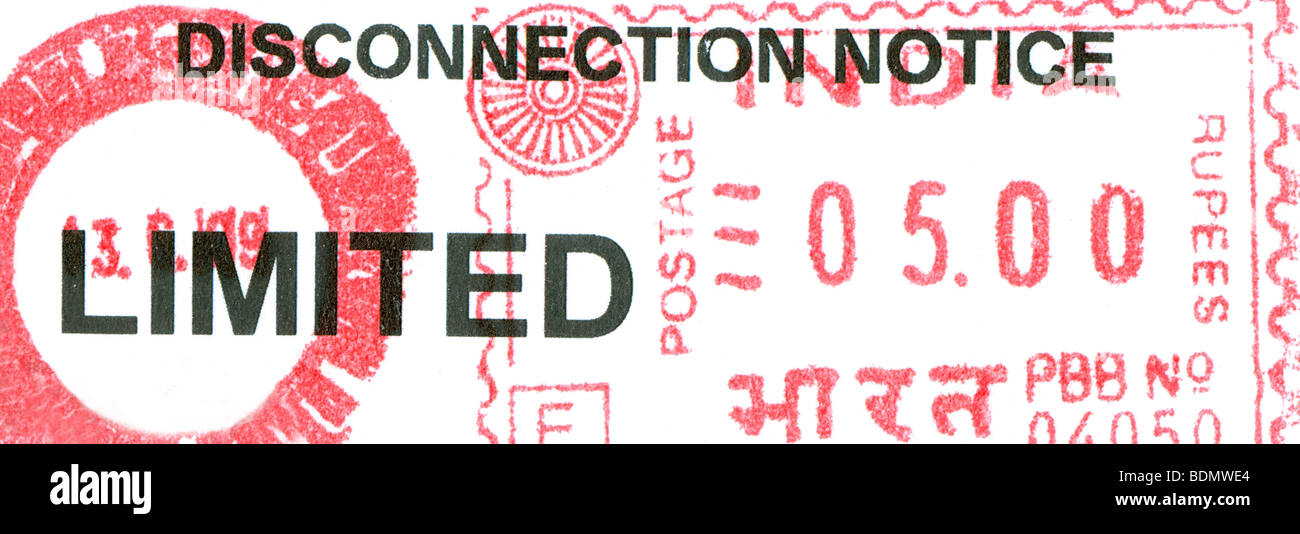 Postal stationery & seals in India  : ELECTRICITY DISCONNECTION NOTICE - Stock Image