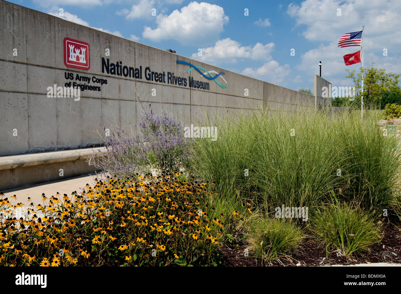 The National Great Rivers Museum on the Meeting of the Great Rivers National Scenic Byway in Alton, Illinois - Stock Image
