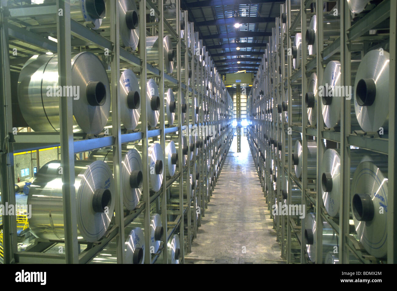 Aluminum can manufacturing facility - Stock Image