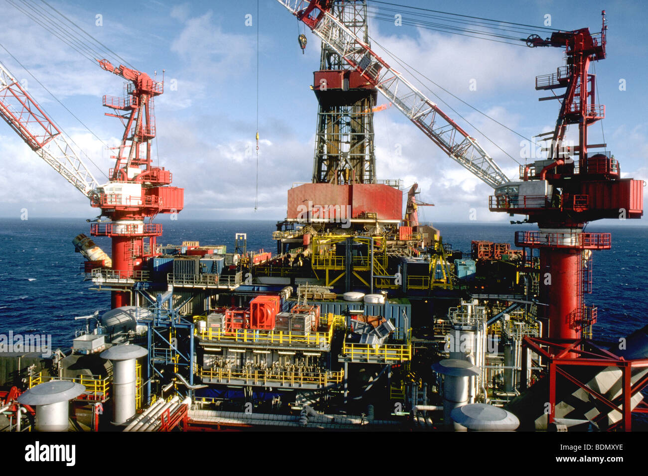Offshore oil platform in the North Sea, Norway - Stock Image