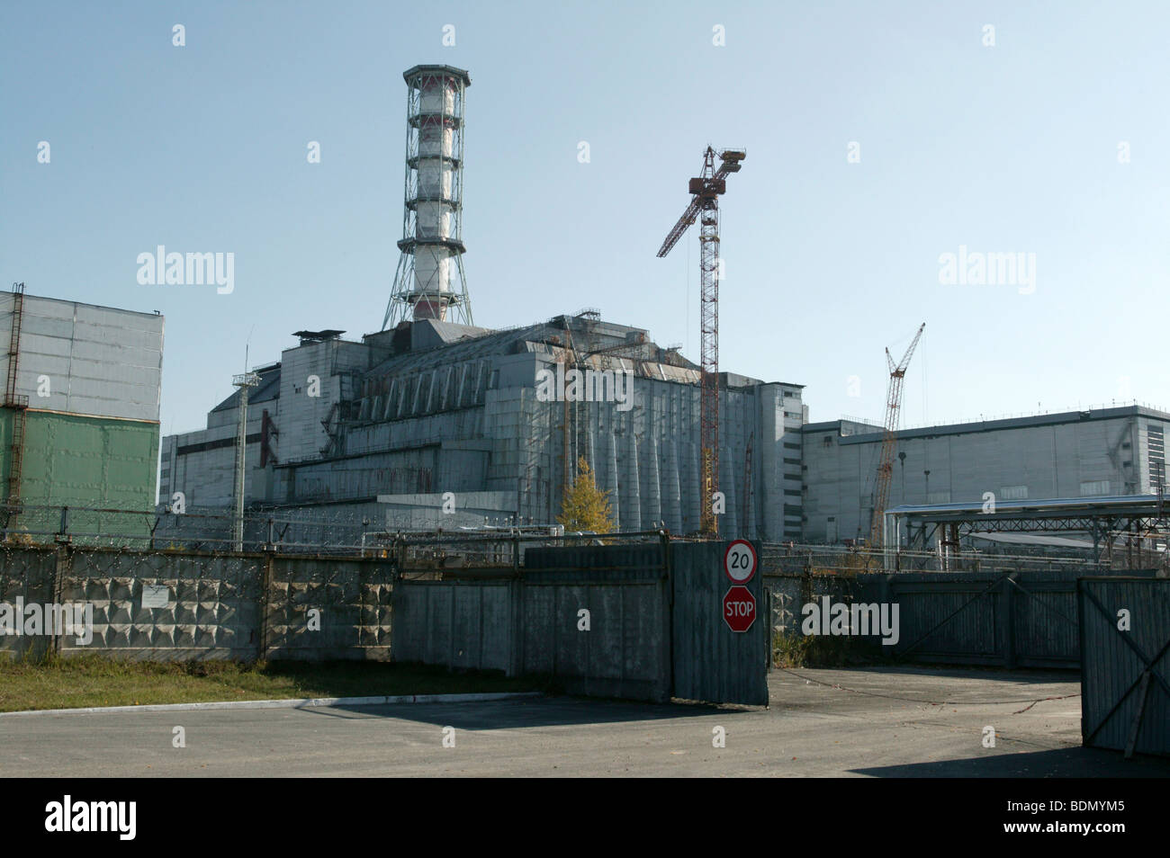 Chernobyl Reactor building which contains the - Stock Image