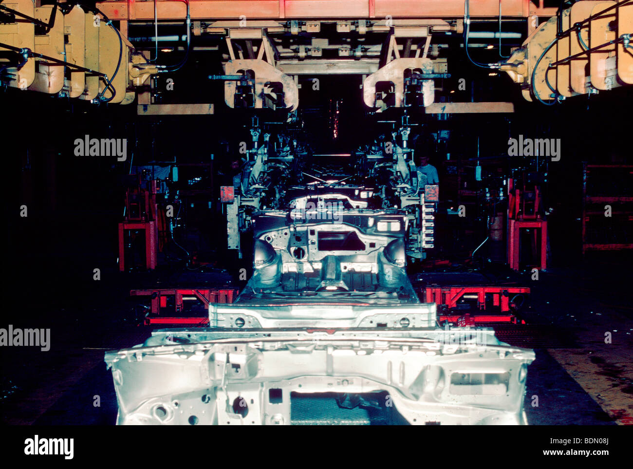 Automobile manufacturing assembley line - Stock Image