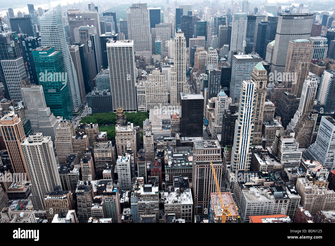 View from the Empire State Building to the north of Manhattan, on the middle right MetLife Building above Grand Stock Photo