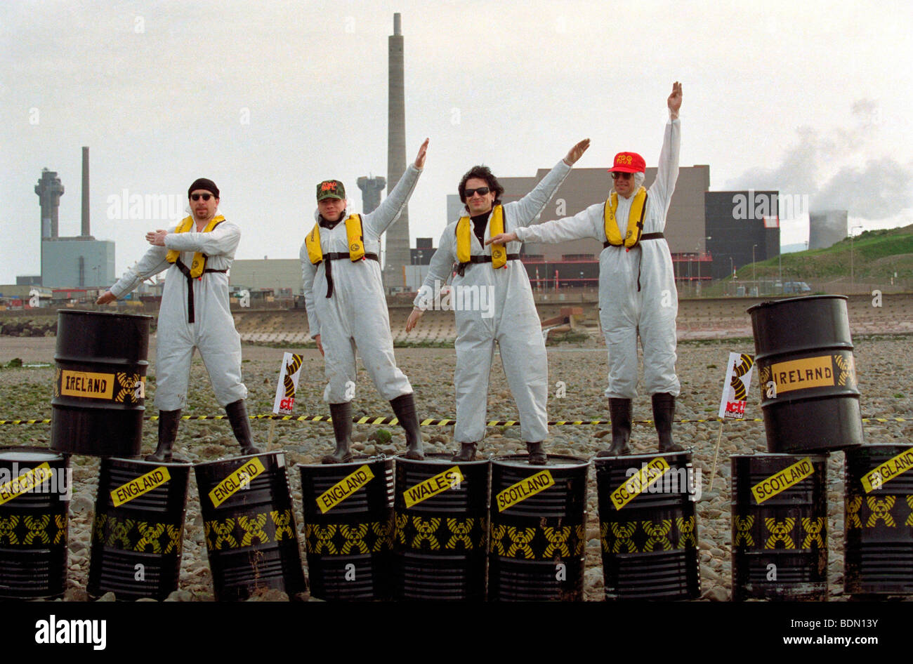Irish rock band U2 joins Greenpeace protest against the new THORP nuclear plant due to open in 1992. - Stock Image