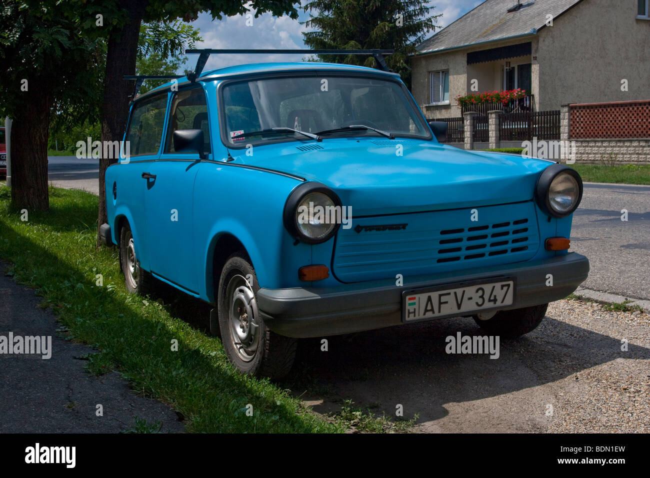 Trabant, the emblematic little car symbolizing the end of the German Democratic Republic Stock Photo