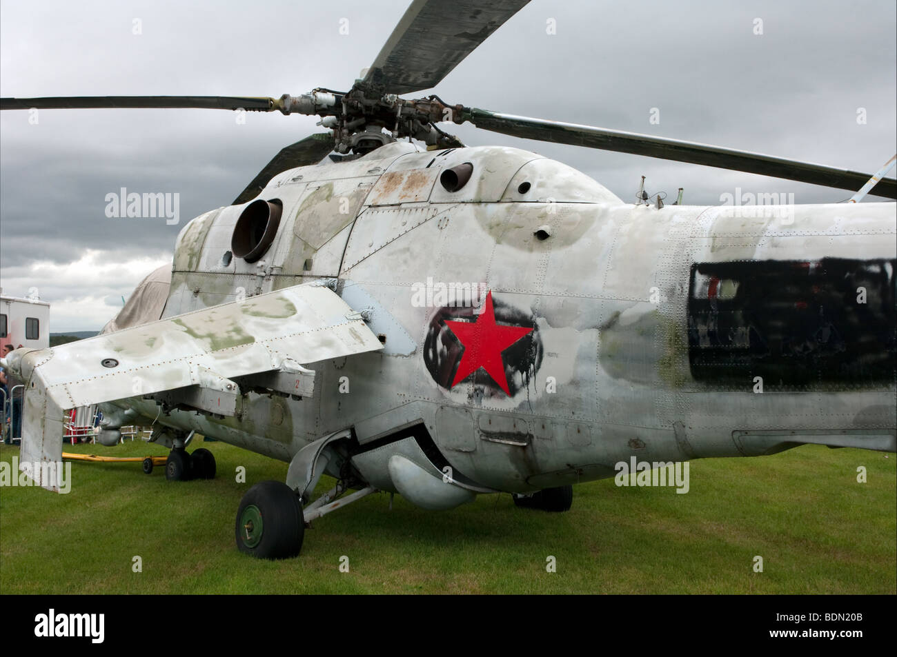 Soviet era Hind MIL-24 military helicopter - Stock Image