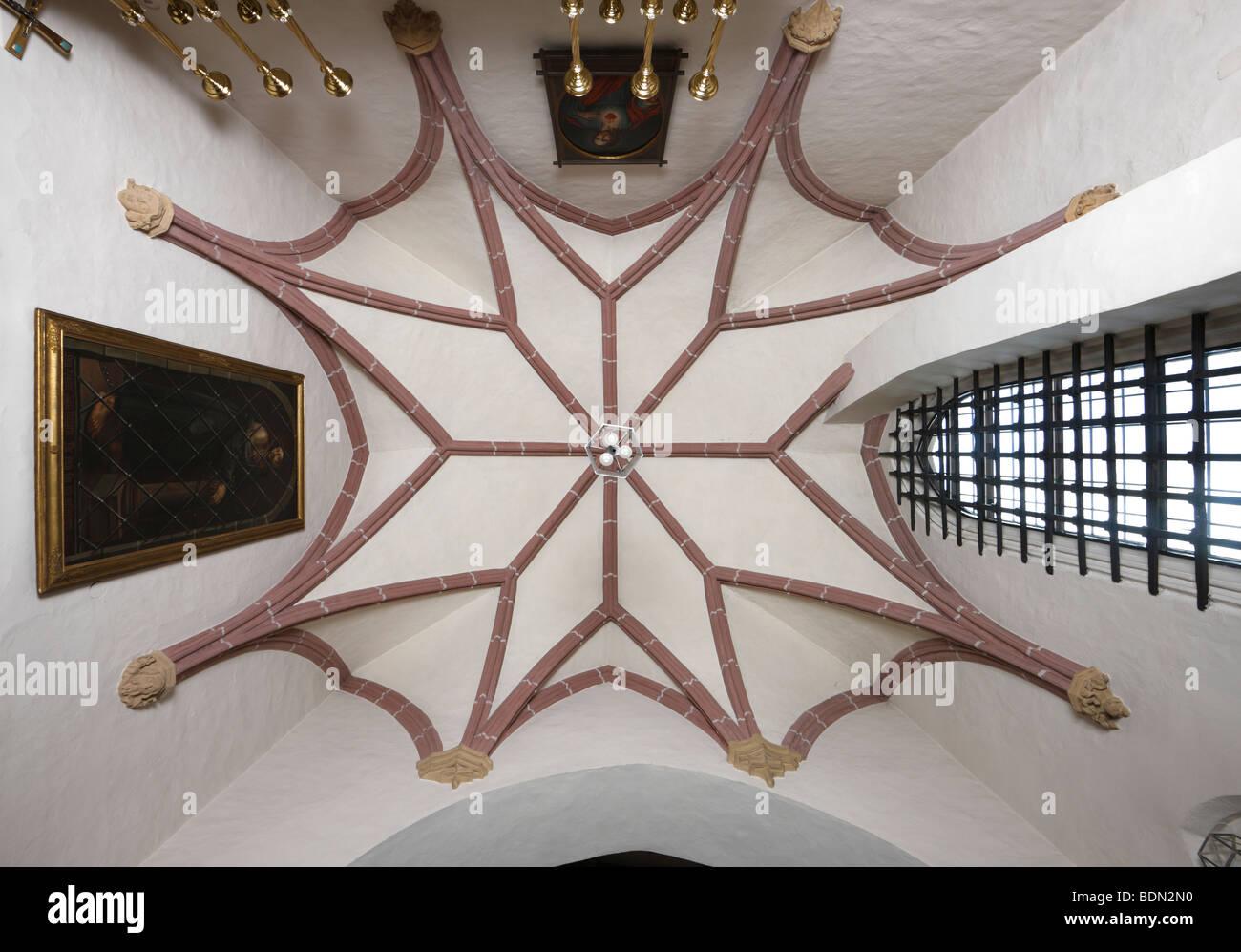 Landshut, Stifts- und Pfarrkirche St. Martin, Alte Sakristei, Sterngewölbe - Stock Image