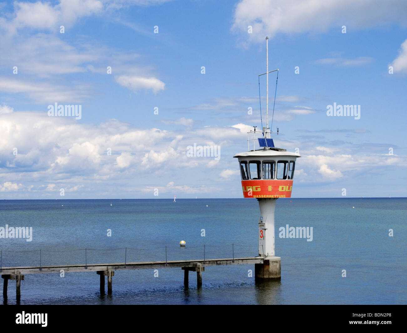 Post of the DLRG life guards on the beach of Travemuende, Schleswig-Holstein, Germany, Europe Stock Photo