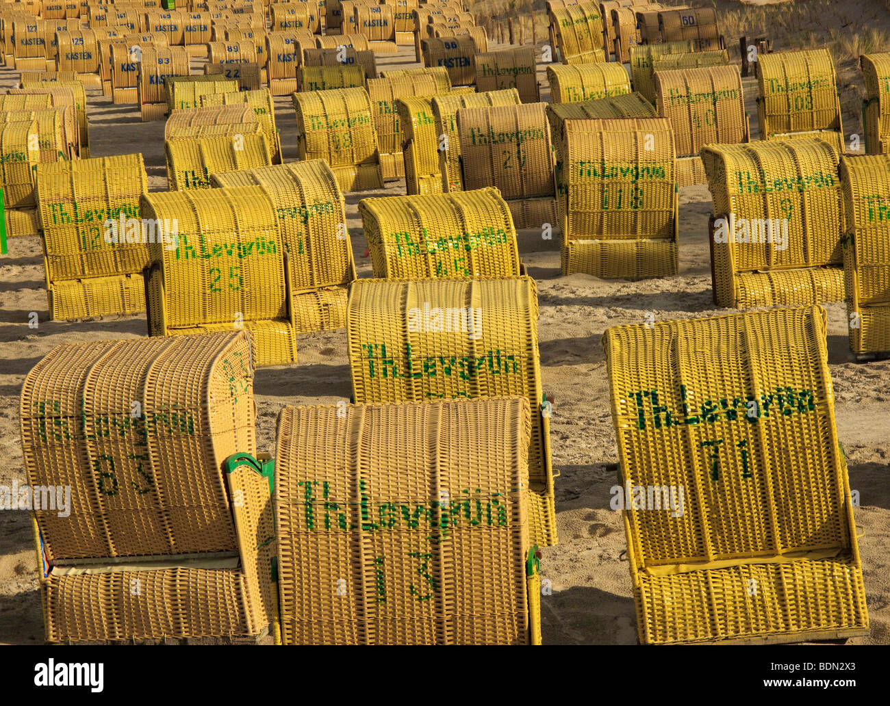 Beach completely crowded with beach chairs in Scharbeutz, Schleswig-Holstein, Germany, Europe - Stock Image