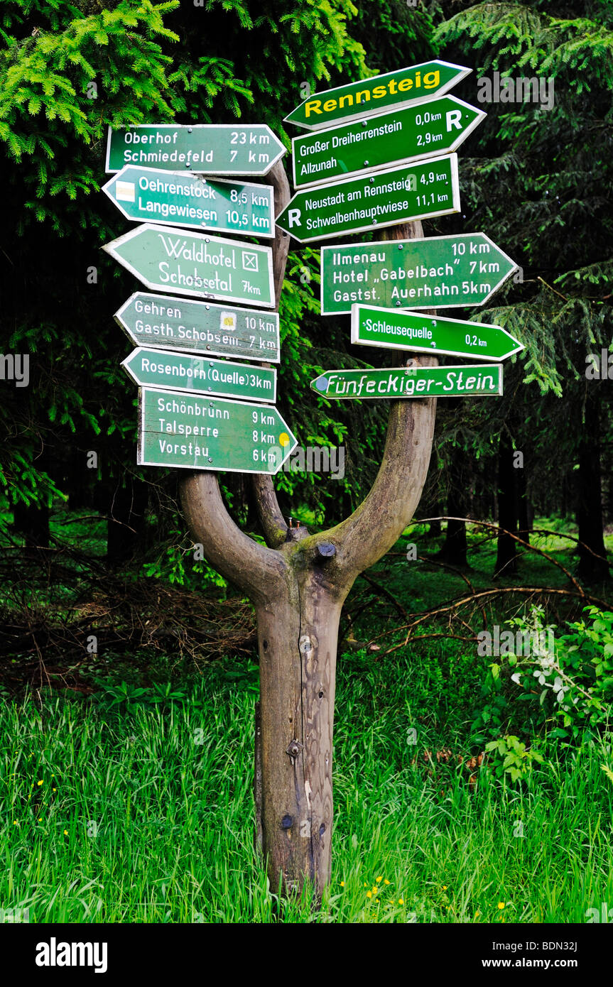 Sign with instructions for hikers, Rennsteig, Thuringian Forest, Thuringia, Germany, Europe - Stock Image