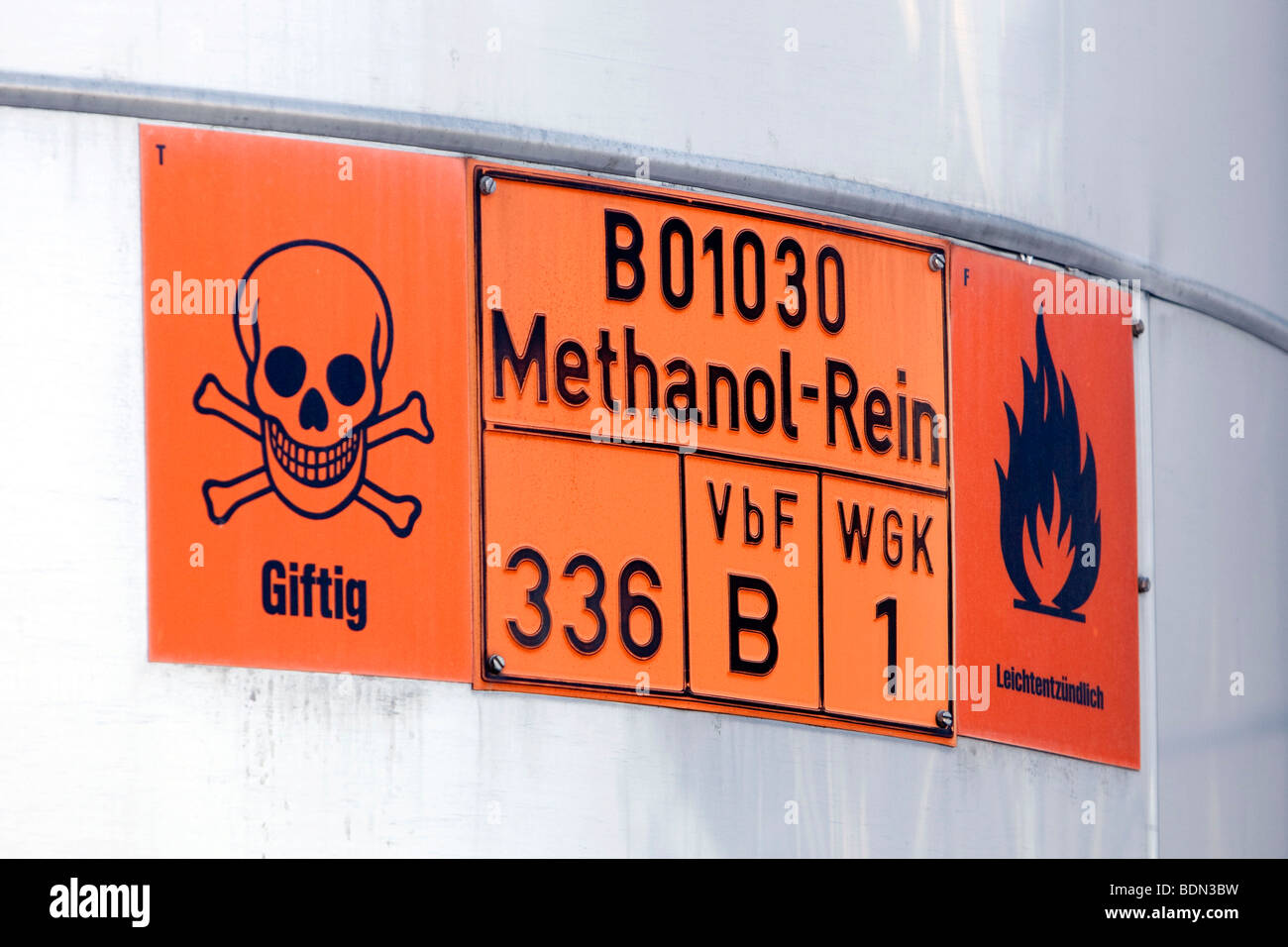Warning sign, methyl, toxic, highly flammable, at the fuel depot of the pharmaceutical company Boehringer Ingelheim - Stock Image