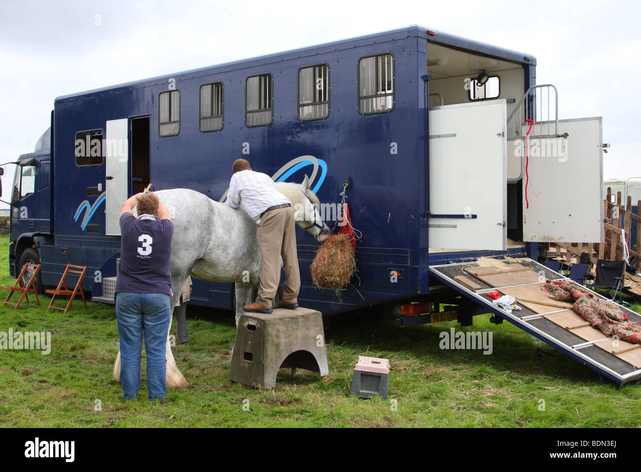 Horse tethered to a horse box at the Moorgreen Show, Moorgreen, Nottinghamshire, England, U.K. - Stock Image
