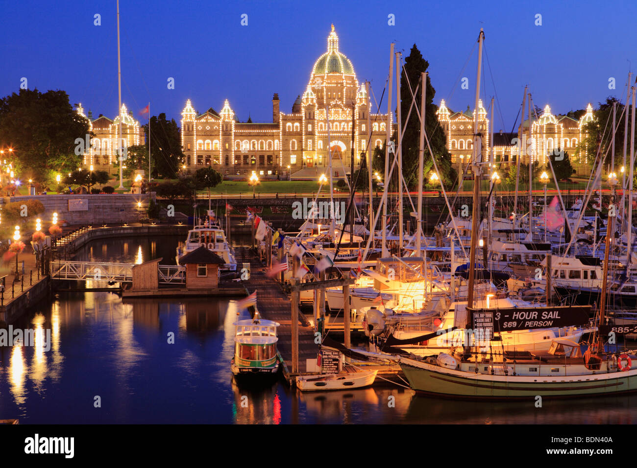 Inner harbour and Legislative buildings at dusk-Victoria, British Columbia, Canada. - Stock Image