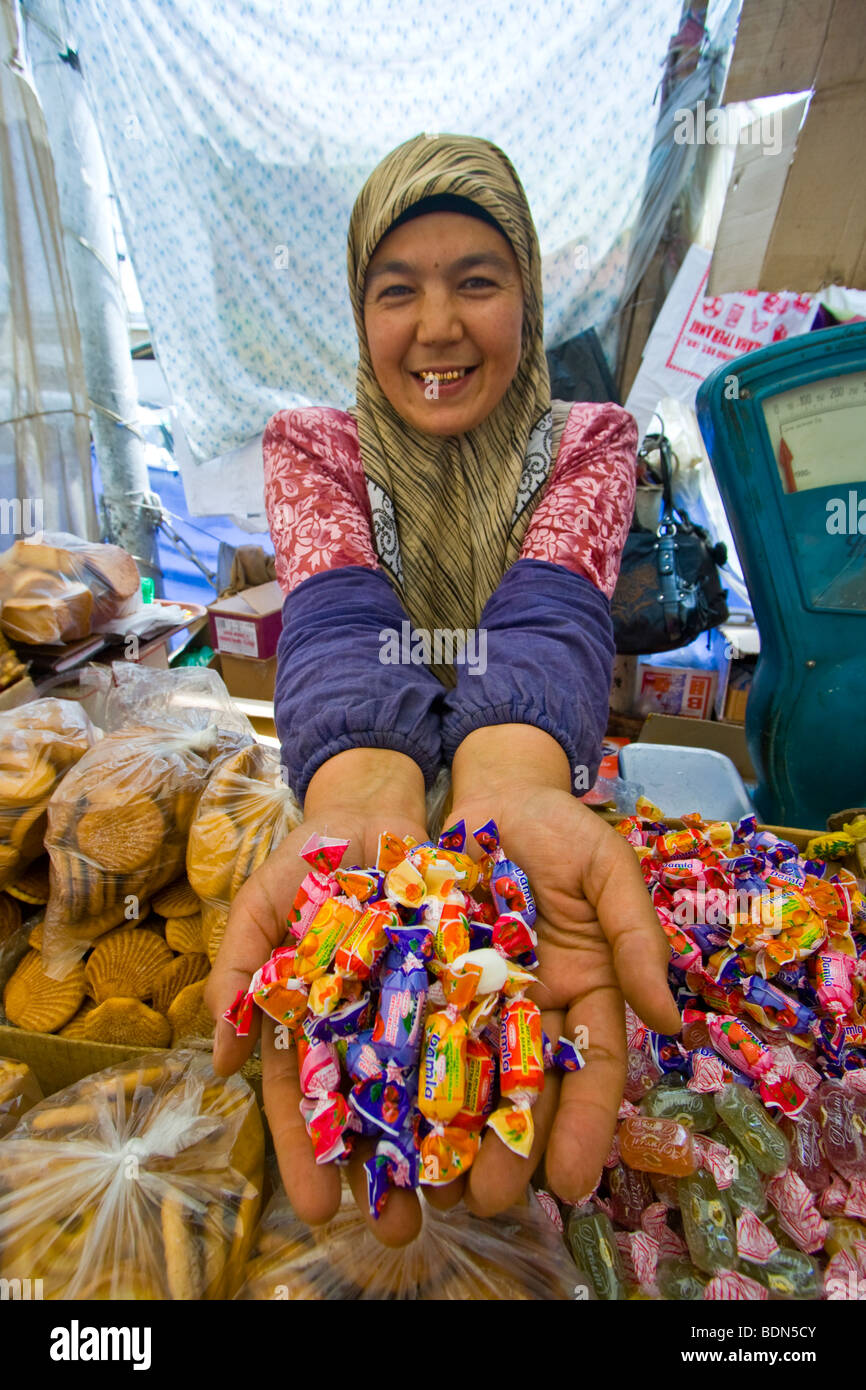 Cookies and Sweets Shop in the Osh Bazaar in Osh Kyrgyzstan - Stock Image