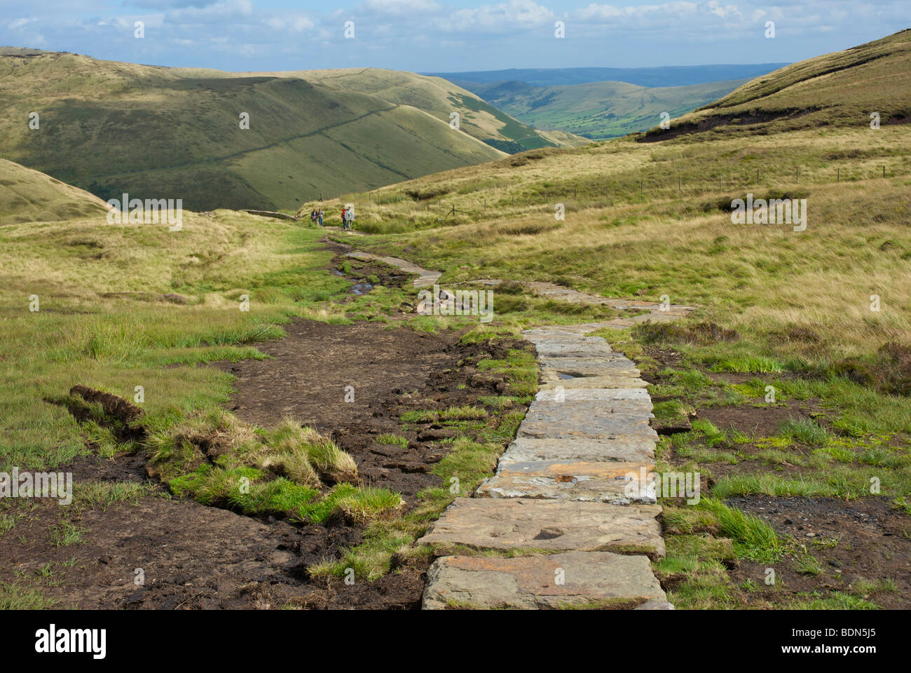 Repaired section of Pennine Way path on Kinder Scout, near Edale, Peak National Park, Derbyshire, UK - Stock Image