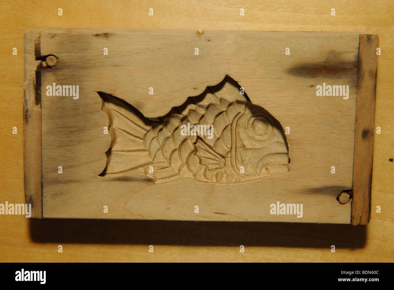 A wooden mold used to make kamaboko fish cake, Suzuhiro kamaboko, Odawara, Kanagawa prefecture, Japan, August 19, - Stock Image