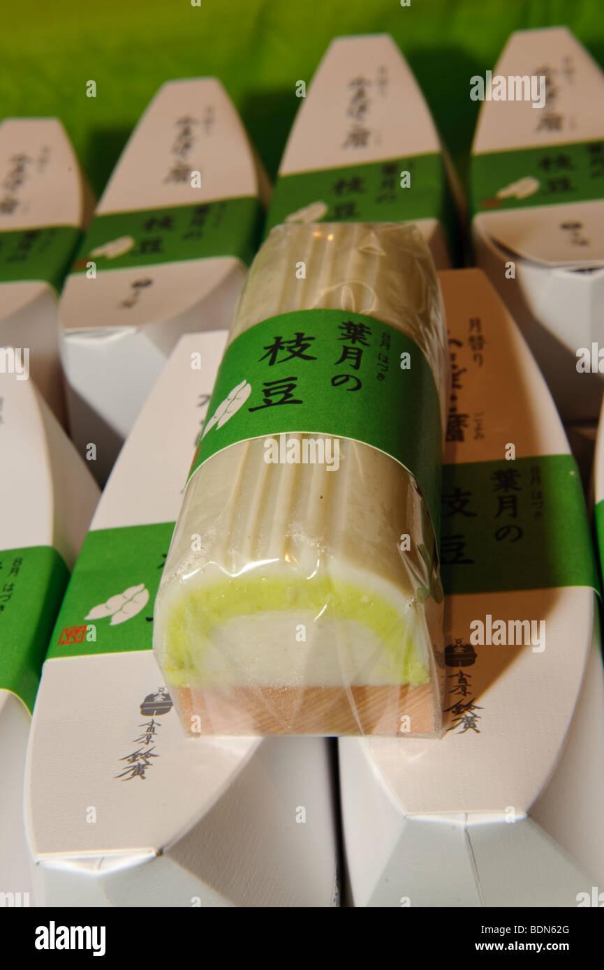 Kamaboko made from edamame in the gift shop at Suzuhiro kamaboko, Odawara, Kanagawa prefecture, Japan, August 19, - Stock Image
