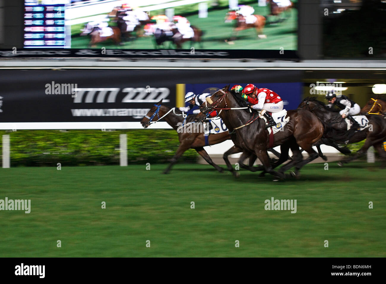 Horses galloping towards the finish during a night horse racing event at Happy Valley race course in Hong Kong. - Stock Image