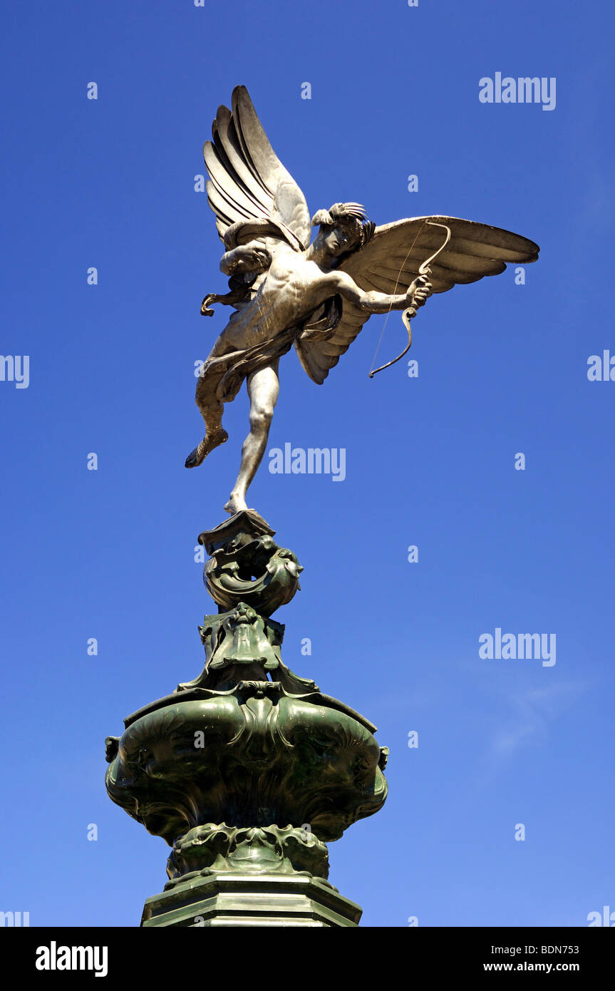 Anteros statue by Alfred Gilbert from the Shaftesbury Memorial fountain in Piccadilly Circus, London, United Kingdom - Stock Image