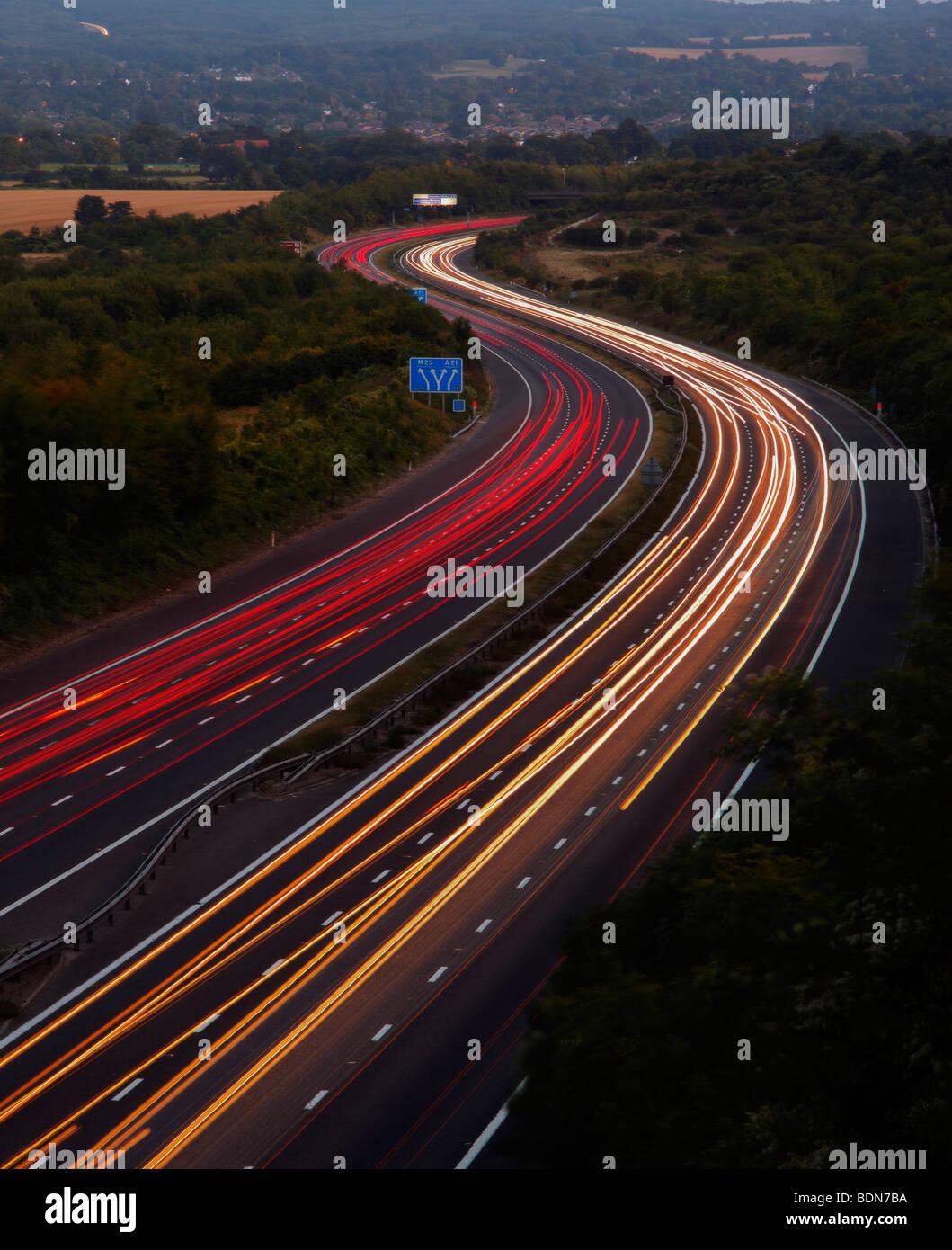 M25 motorway at dusk. Kent, England, UK. - Stock Image
