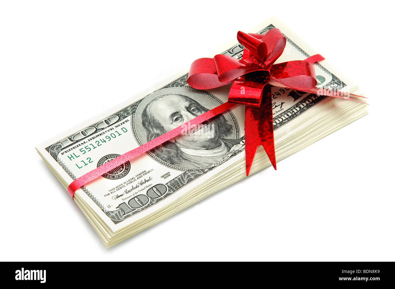 Money and red ribbon for gift - Stock Image