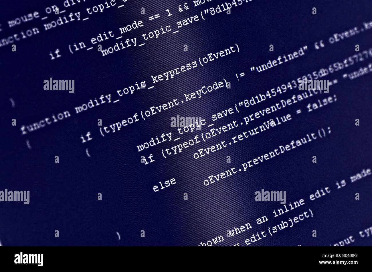 Program code on computer screen - Stock Image