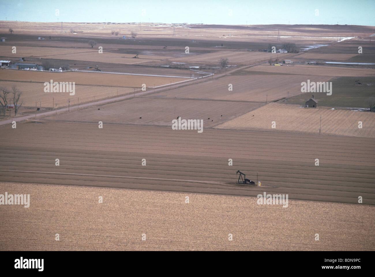 Oil pumper in agricultural field, rural Colorado - Stock Image