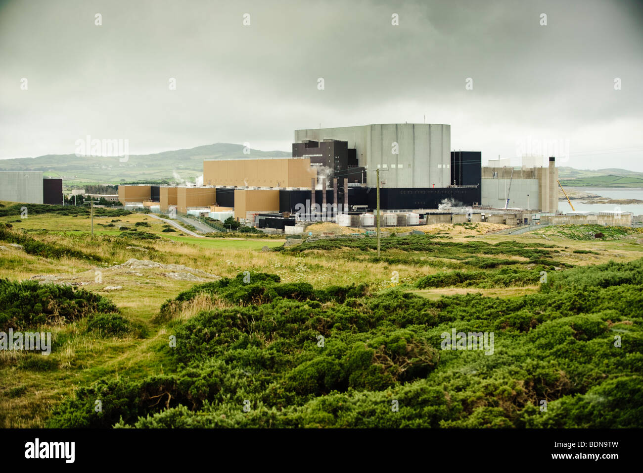 The Wylfa atomic nuclear power station, on the northern coastline of Anglesey, north Wales UK - Stock Image