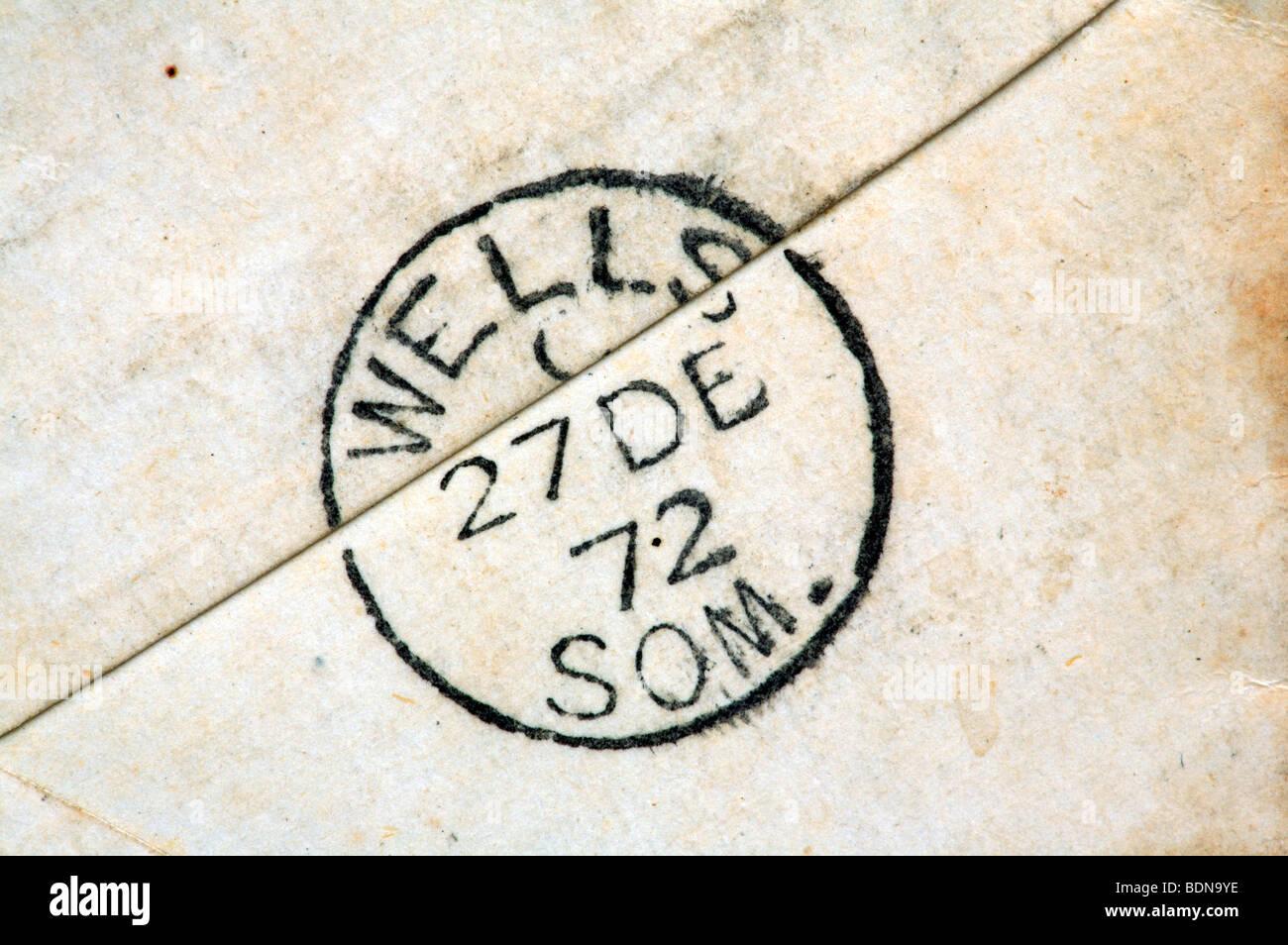 Postmark on reverse of envelope dated 27 December 1872 at Wells, Somerset, England. - Stock Image
