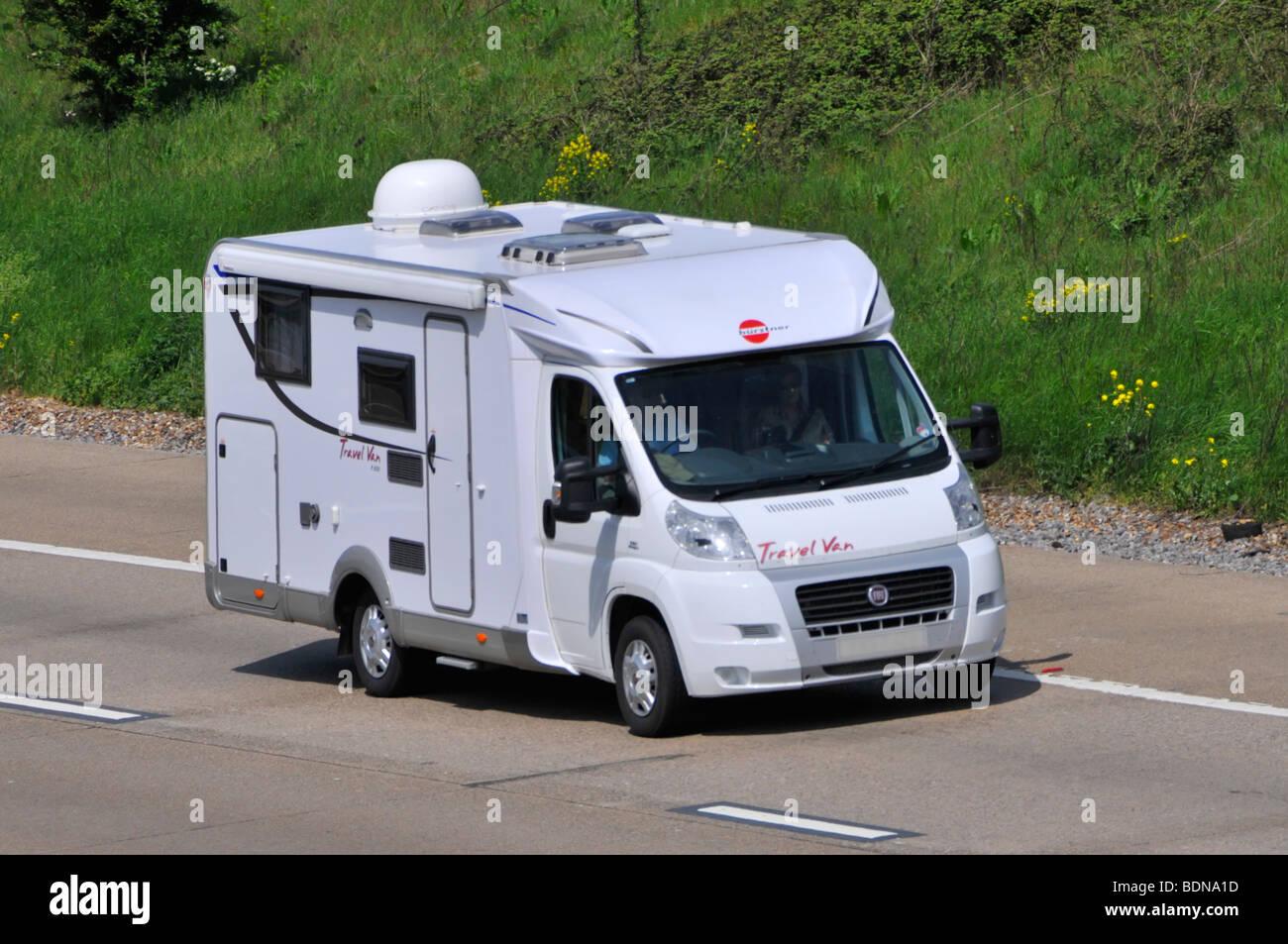 M25 motorway camper van obscured numberplate - Stock Image