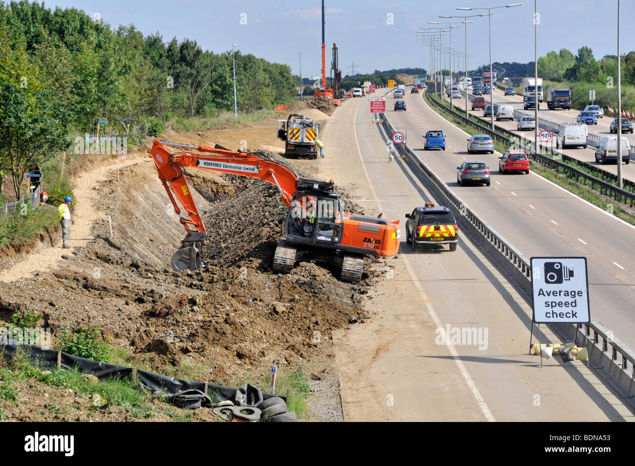 M25 road widening project with contra flow in operation - Stock Image